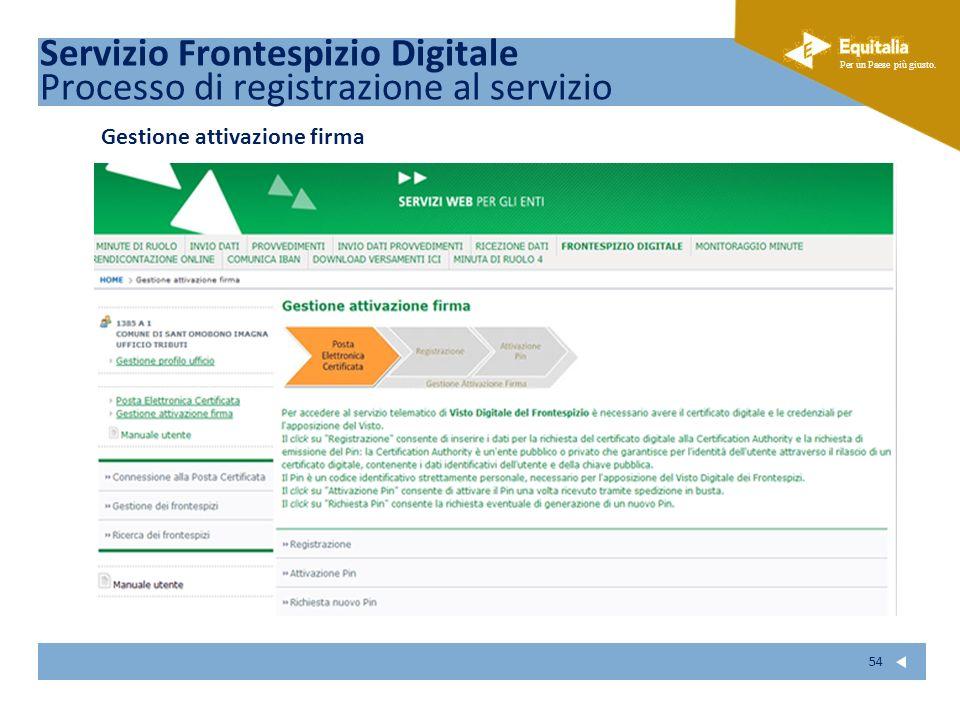 Fare clic per modificare lo stile del sottotitolo dello schema Per un Paese più giusto. 54 Gestione attivazione firma Servizio Frontespizio Digitale P