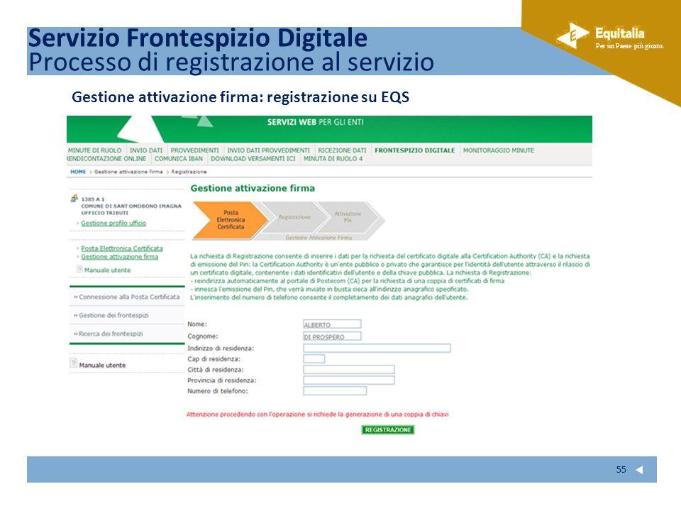 Fare clic per modificare lo stile del sottotitolo dello schema Per un Paese più giusto. 55 Gestione attivazione firma: registrazione su EQS Servizio F