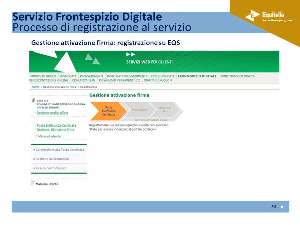 Fare clic per modificare lo stile del sottotitolo dello schema Per un Paese più giusto. 56 Gestione attivazione firma: registrazione su EQS Servizio F