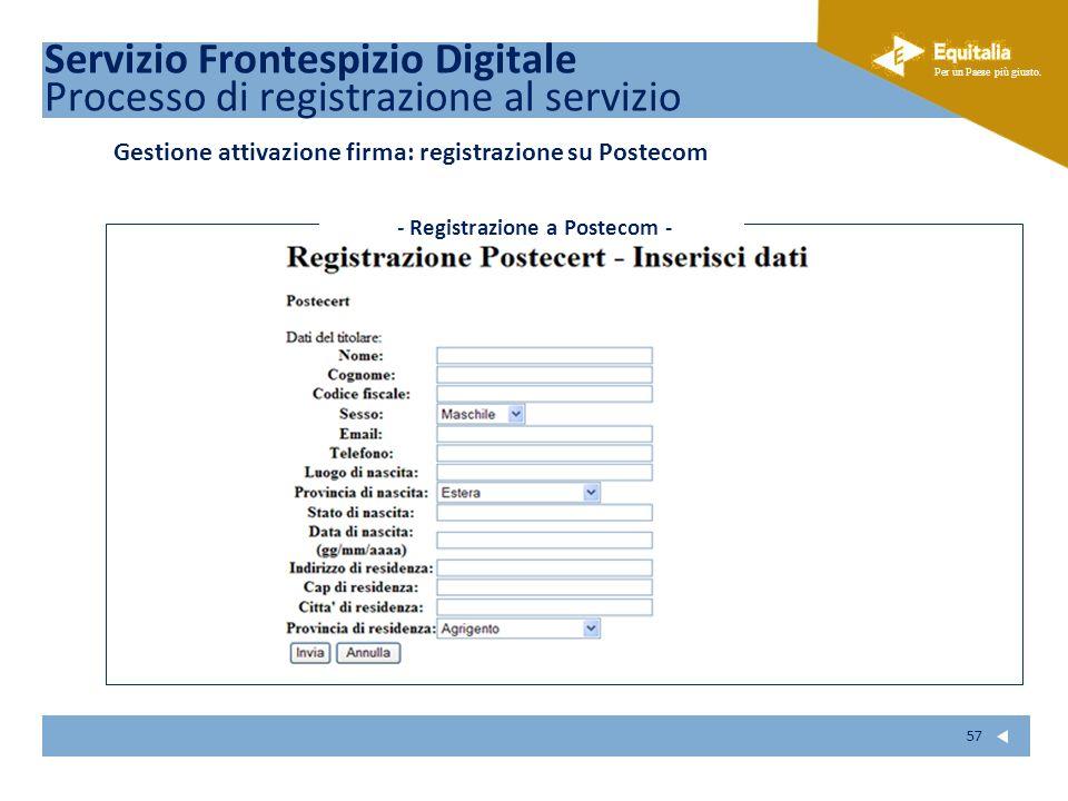 Fare clic per modificare lo stile del sottotitolo dello schema Per un Paese più giusto. 57 Gestione attivazione firma: registrazione su Postecom Servi