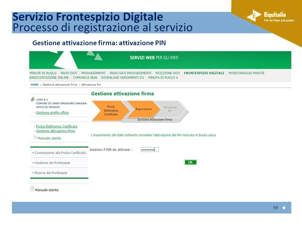 Fare clic per modificare lo stile del sottotitolo dello schema Per un Paese più giusto. 59 Gestione attivazione firma: attivazione PIN Servizio Fronte