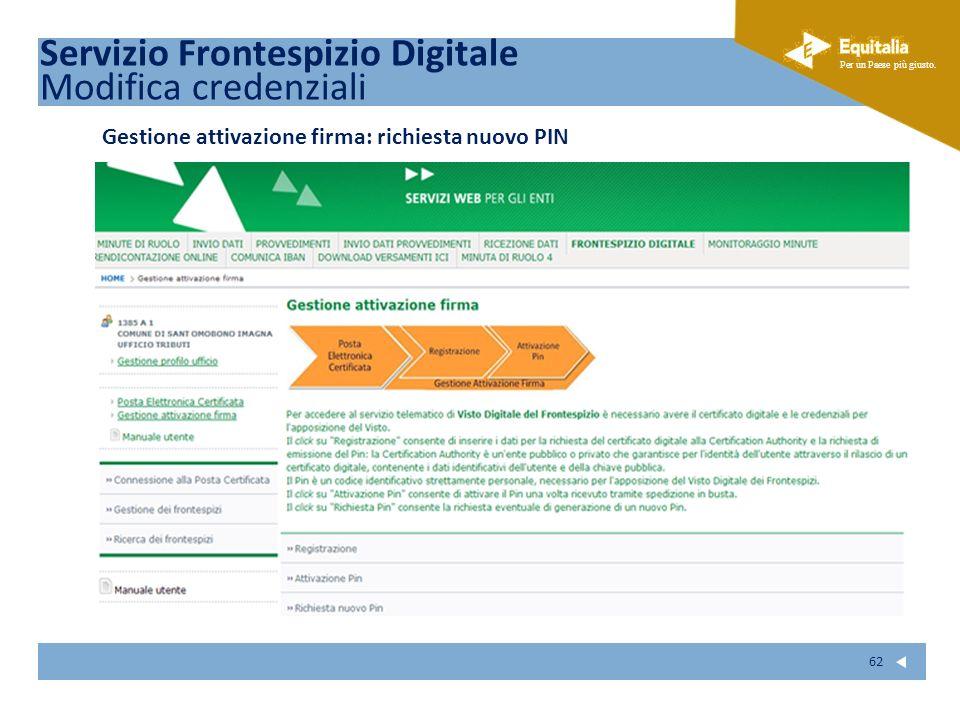 Fare clic per modificare lo stile del sottotitolo dello schema Per un Paese più giusto. 62 Gestione attivazione firma: richiesta nuovo PIN Servizio Fr