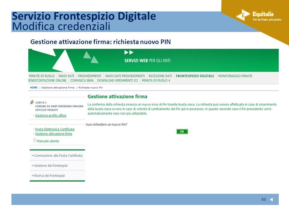 Fare clic per modificare lo stile del sottotitolo dello schema Per un Paese più giusto. 63 Gestione attivazione firma: richiesta nuovo PIN Servizio Fr