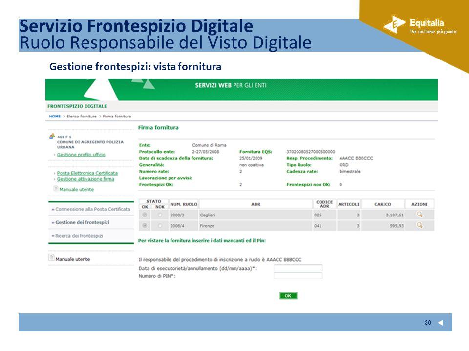 Fare clic per modificare lo stile del sottotitolo dello schema Per un Paese più giusto. 80 Gestione frontespizi: vista fornitura Servizio Frontespizio