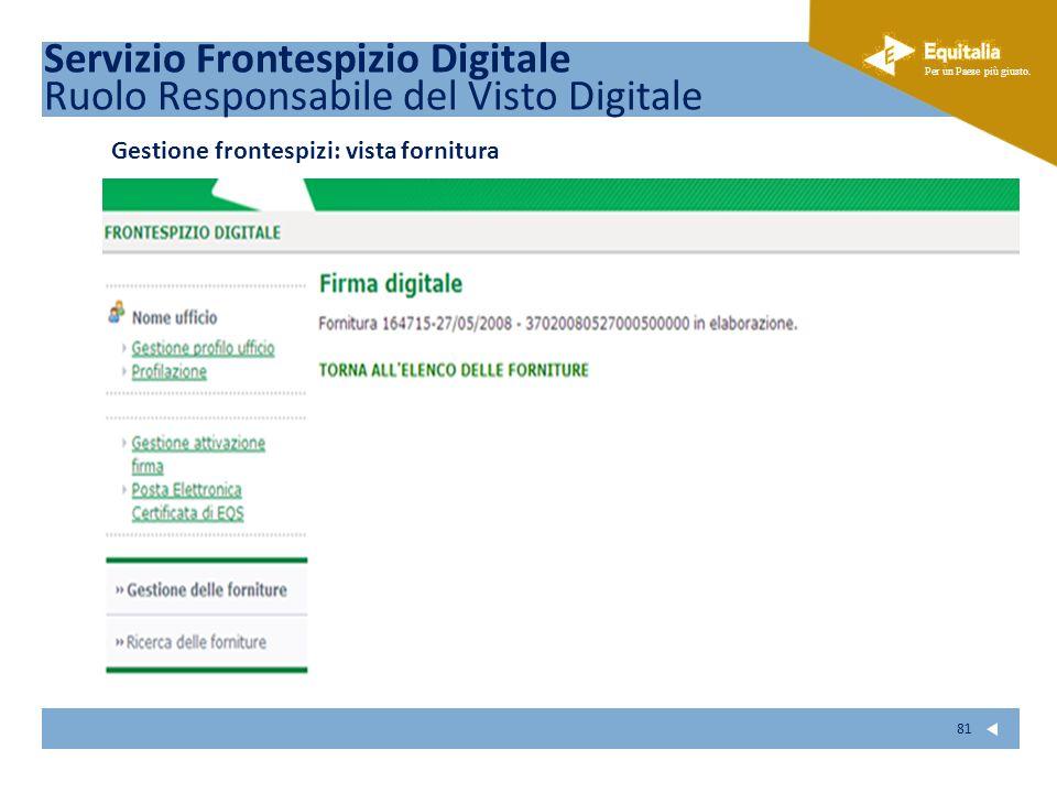 Fare clic per modificare lo stile del sottotitolo dello schema Per un Paese più giusto. 81 Gestione frontespizi: vista fornitura Servizio Frontespizio