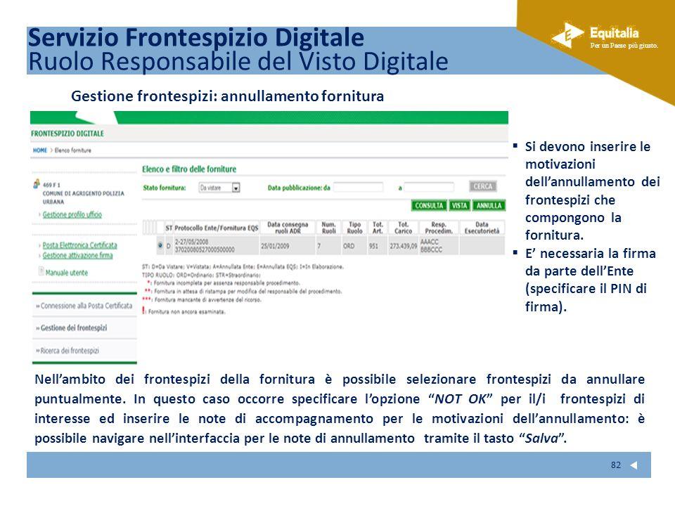 Fare clic per modificare lo stile del sottotitolo dello schema Per un Paese più giusto. 82 Servizio Frontespizio Digitale Ruolo Responsabile del Visto