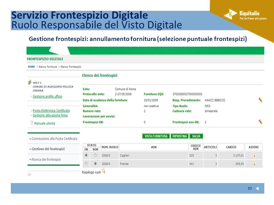 Fare clic per modificare lo stile del sottotitolo dello schema Per un Paese più giusto. 85 Servizio Frontespizio Digitale Ruolo Responsabile del Visto