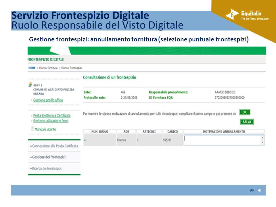 Fare clic per modificare lo stile del sottotitolo dello schema Per un Paese più giusto. 86 Servizio Frontespizio Digitale Ruolo Responsabile del Visto