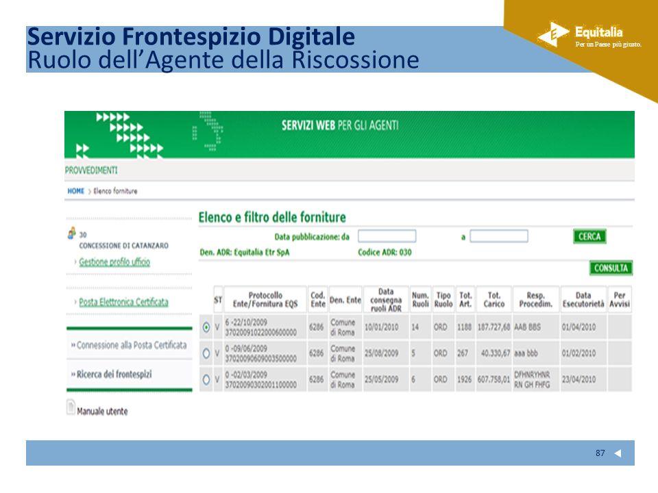 Fare clic per modificare lo stile del sottotitolo dello schema Per un Paese più giusto. 87 Servizio Frontespizio Digitale Ruolo dellAgente della Risco