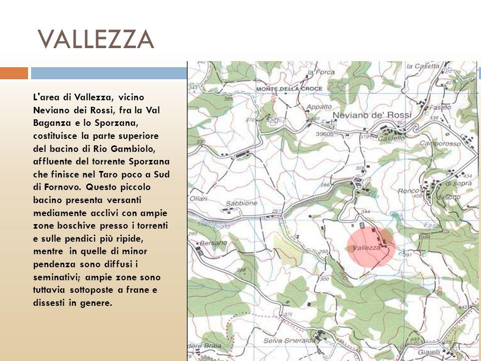 VALLEZZA L'area di Vallezza, vicino Neviano dei Rossi, fra la Val Baganza e lo Sporzana, costituisce la parte superiore del bacino di Rio Gambiolo, af