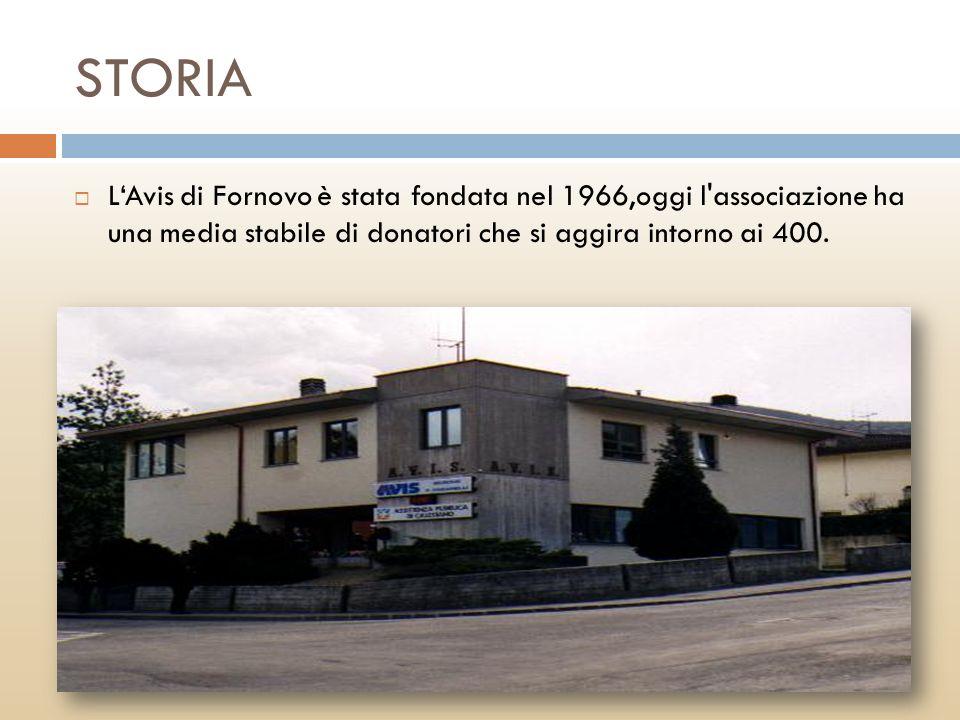 STORIA LAvis di Fornovo è stata fondata nel 1966,oggi l'associazione ha una media stabile di donatori che si aggira intorno ai 400.