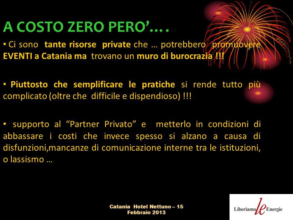 Catania Hotel Nettuno – 15 Febbraio 2013 A COSTO ZERO PERO….