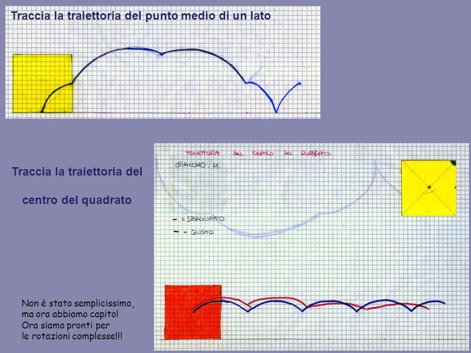 Traccia la traiettoria del punto medio di un lato Traccia la traiettoria del centro del quadrato Non è stato semplicissimo, ma ora abbiamo capito.