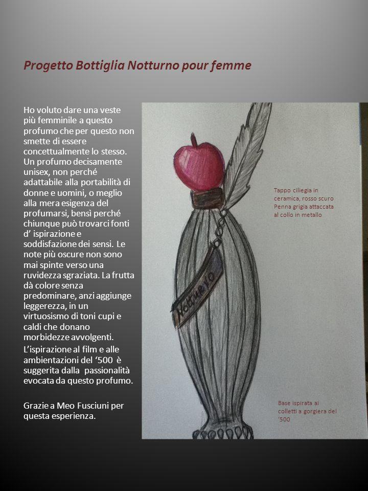 Progetto Bottiglia Notturno pour femme Ho voluto dare una veste più femminile a questo profumo che per questo non smette di essere concettualmente lo