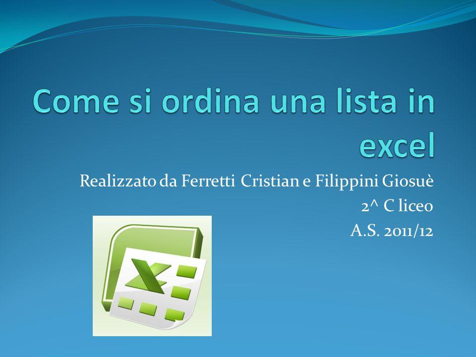 Realizzato da Ferretti Cristian e Filippini Giosuè 2^ C liceo A.S. 2011/12