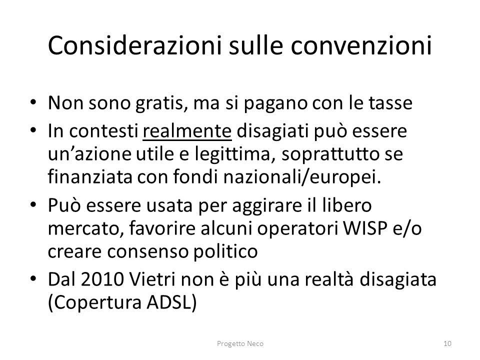 Considerazioni sulle convenzioni Non sono gratis, ma si pagano con le tasse In contesti realmente disagiati può essere unazione utile e legittima, sop