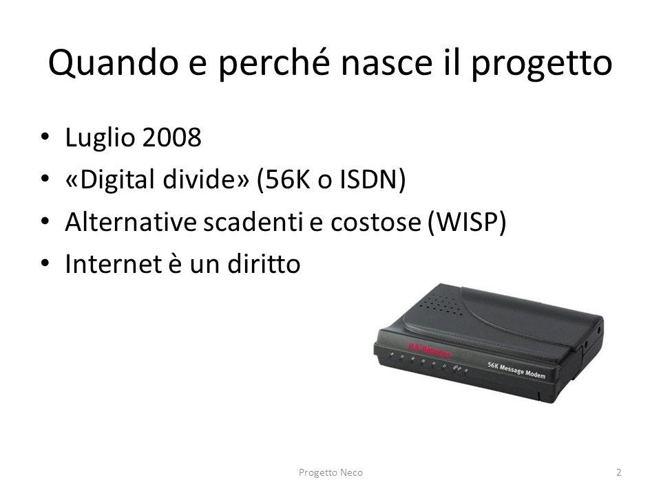 Quando e perché nasce il progetto Luglio 2008 «Digital divide» (56K o ISDN) Alternative scadenti e costose (WISP) Internet è un diritto Progetto Neco2