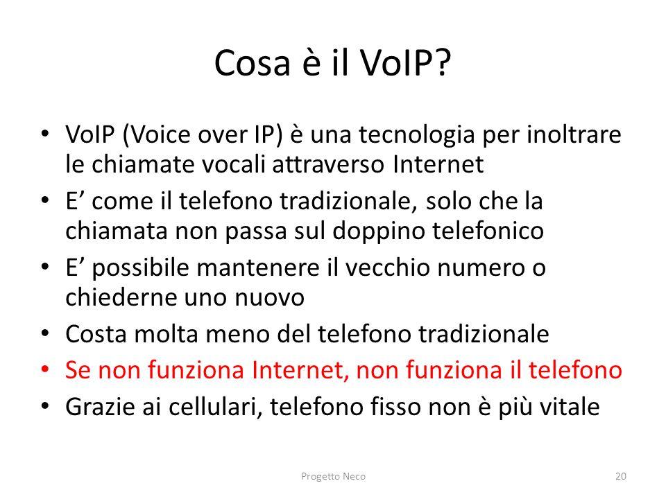 Cosa è il VoIP? VoIP (Voice over IP) è una tecnologia per inoltrare le chiamate vocali attraverso Internet E come il telefono tradizionale, solo che l