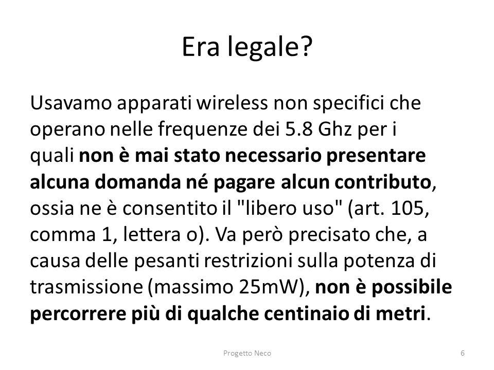 Era legale? Usavamo apparati wireless non specifici che operano nelle frequenze dei 5.8 Ghz per i quali non è mai stato necessario presentare alcuna d