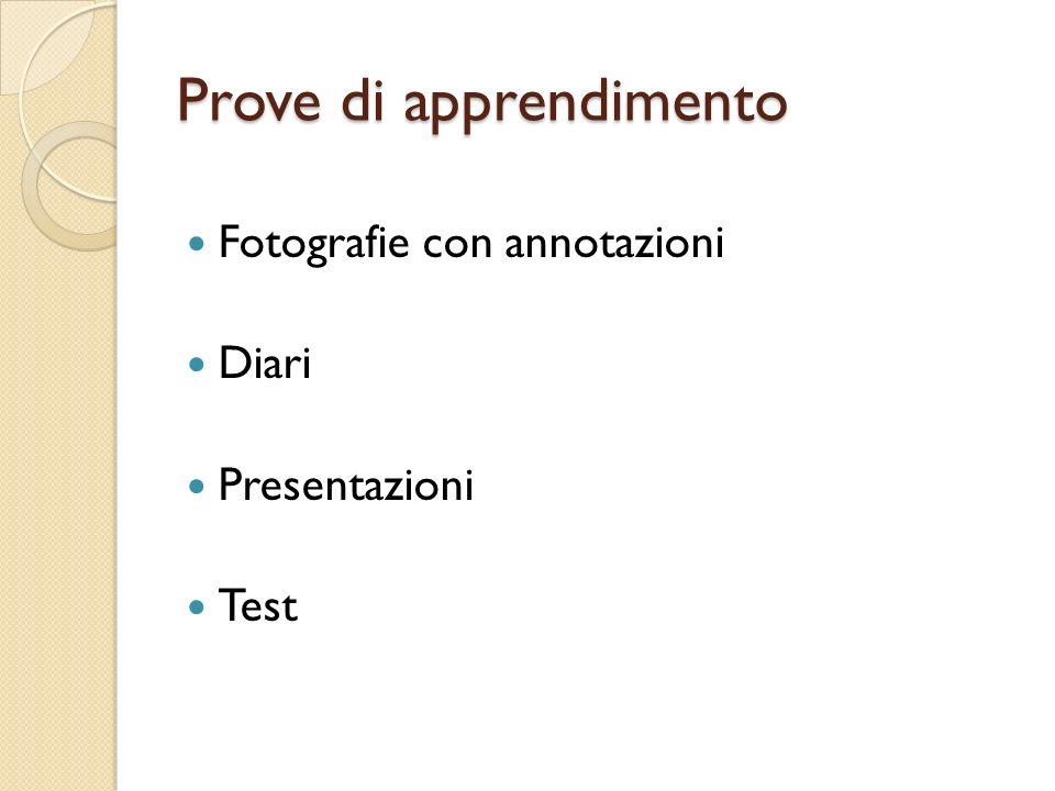 Prove di apprendimento Fotografie con annotazioni Diari Presentazioni Test