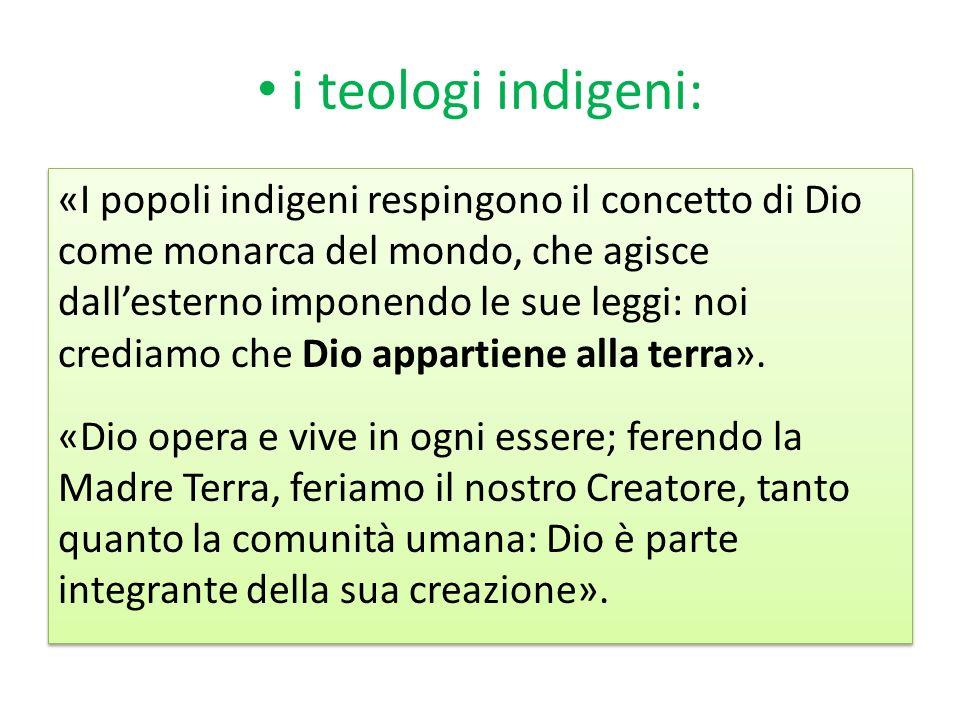 i teologi indigeni: «I popoli indigeni respingono il concetto di Dio come monarca del mondo, che agisce dallesterno imponendo le sue leggi: noi credia
