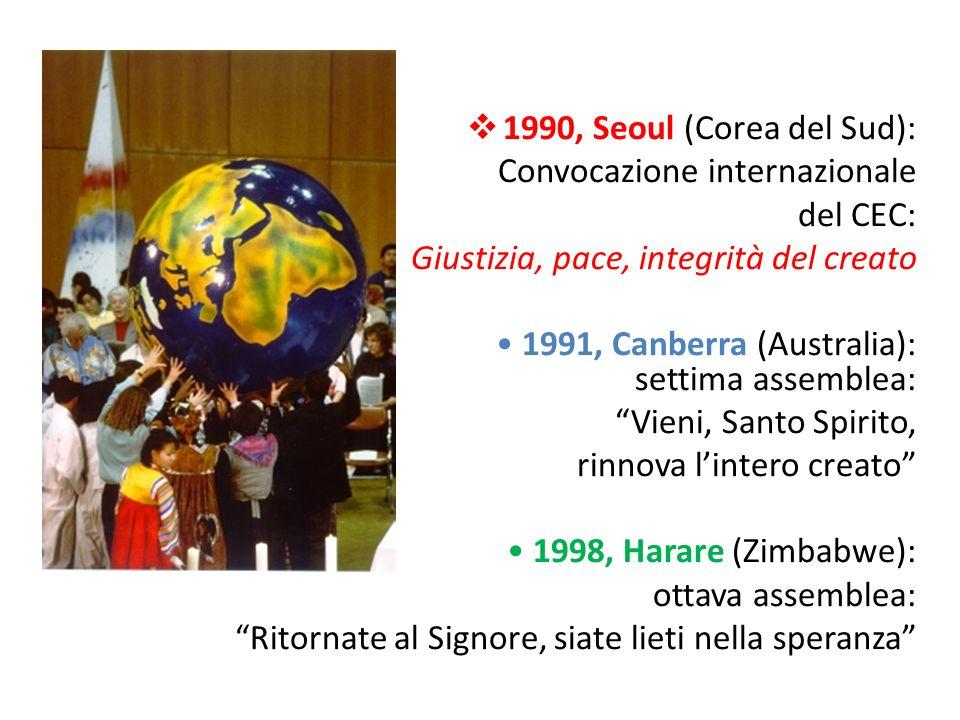 1990, Seoul (Corea del Sud): Convocazione internazionale del CEC: Giustizia, pace, integrità del creato 1991, Canberra (Australia): settima assemblea: