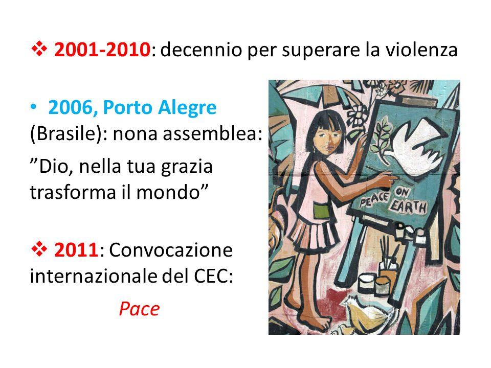 2001-2010: decennio per superare la violenza 2006, Porto Alegre (Brasile): nona assemblea: Dio, nella tua grazia trasforma il mondo 2011: Convocazione