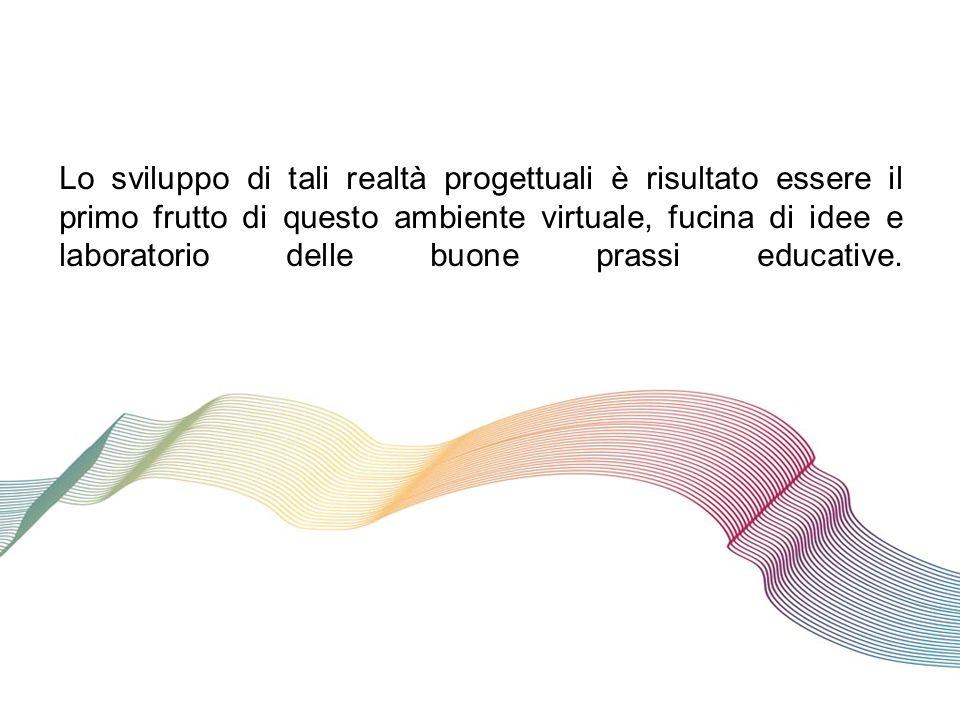 Lo sviluppo di tali realtà progettuali è risultato essere il primo frutto di questo ambiente virtuale, fucina di idee e laboratorio delle buone prassi educative.