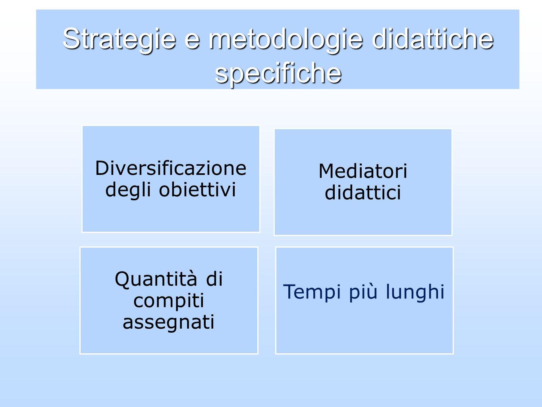 Strategie e metodologie didattiche specifiche Mediatori didattici Diversificazione degli obiettivi Quantità di compiti assegnati Tempi più lunghi