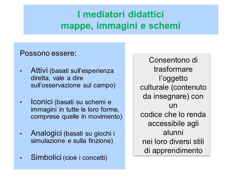 I mediatori didattici mappe, immagini e schemi Possono essere: Attivi (basati sullesperienza diretta, vale a dire sullosservazione sul campo) Iconici