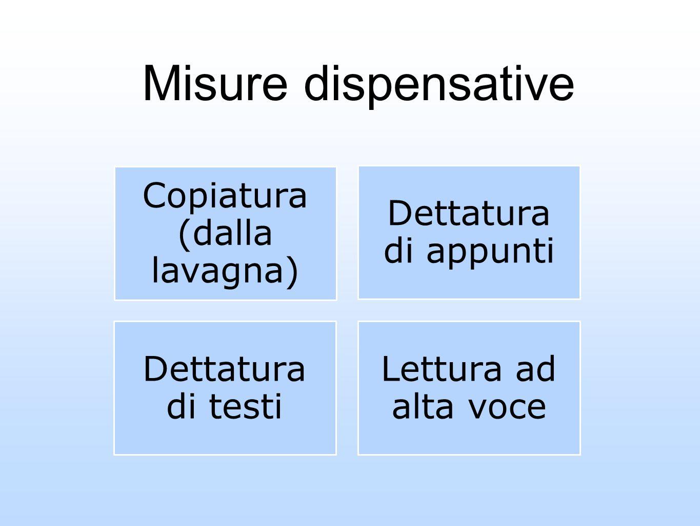 Misure dispensative Copiatura (dalla lavagna) Dettatura di appunti Dettatura di testi Lettura ad alta voce