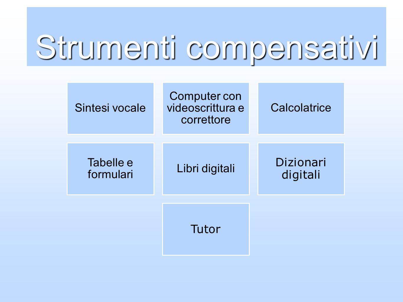 Strumenti compensativi Sintesi vocale Computer con videoscrittura e correttore Calcolatrice Tabelle e formulari Libri digitali Dizionari digitali Tuto