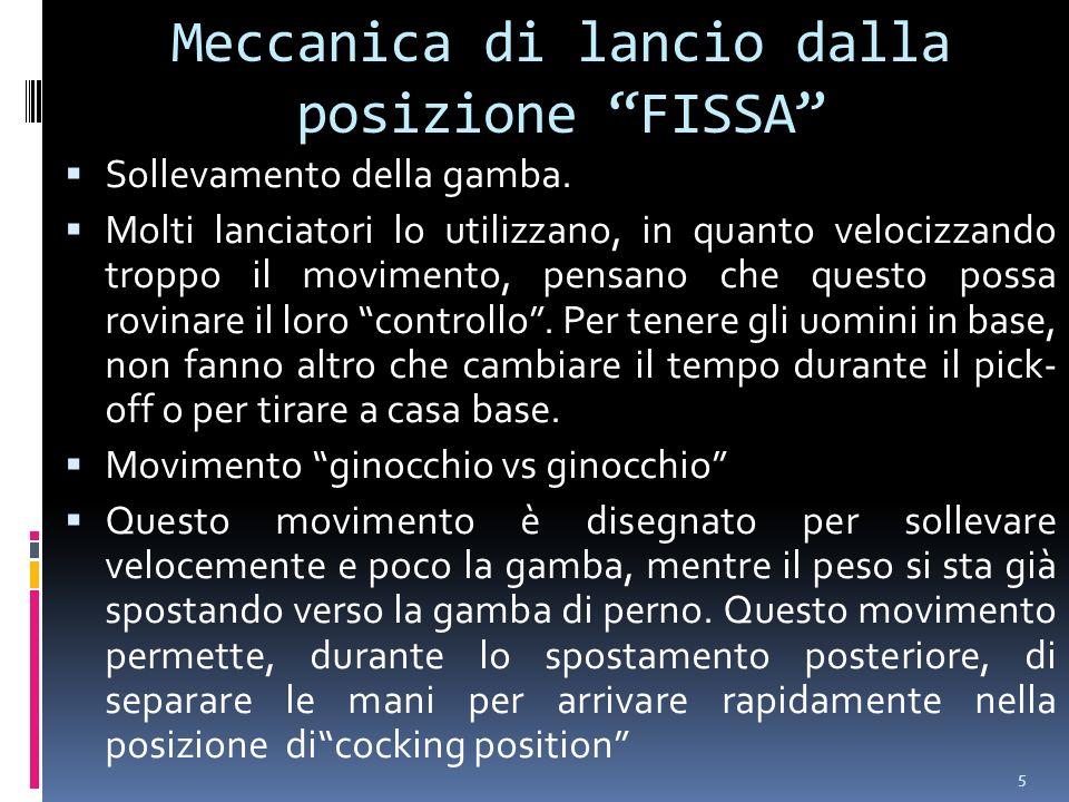5 Meccanica di lancio dalla posizione FISSA Sollevamento della gamba. Molti lanciatori lo utilizzano, in quanto velocizzando troppo il movimento, pens