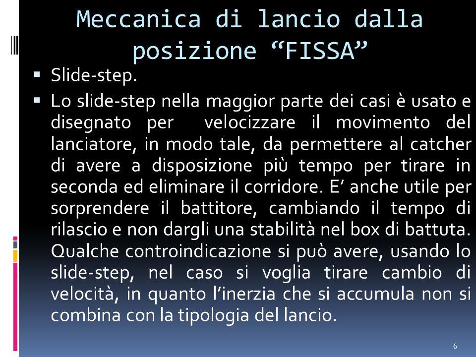 6 Meccanica di lancio dalla posizione FISSA Slide-step. Lo slide-step nella maggior parte dei casi è usato e disegnato per velocizzare il movimento de