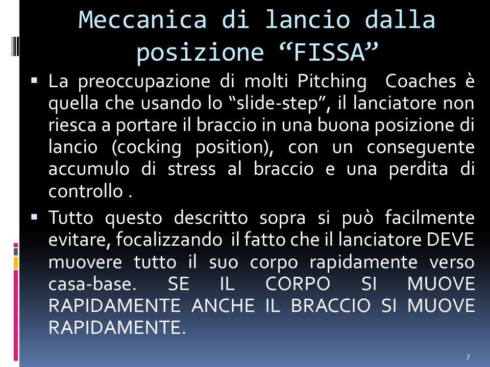 7 Meccanica di lancio dalla posizione FISSA La preoccupazione di molti Pitching Coaches è quella che usando lo slide-step, il lanciatore non riesca a portare il braccio in una buona posizione di lanci0 (cocking position), con un conseguente accumulo di stress al braccio e una perdita di controllo.