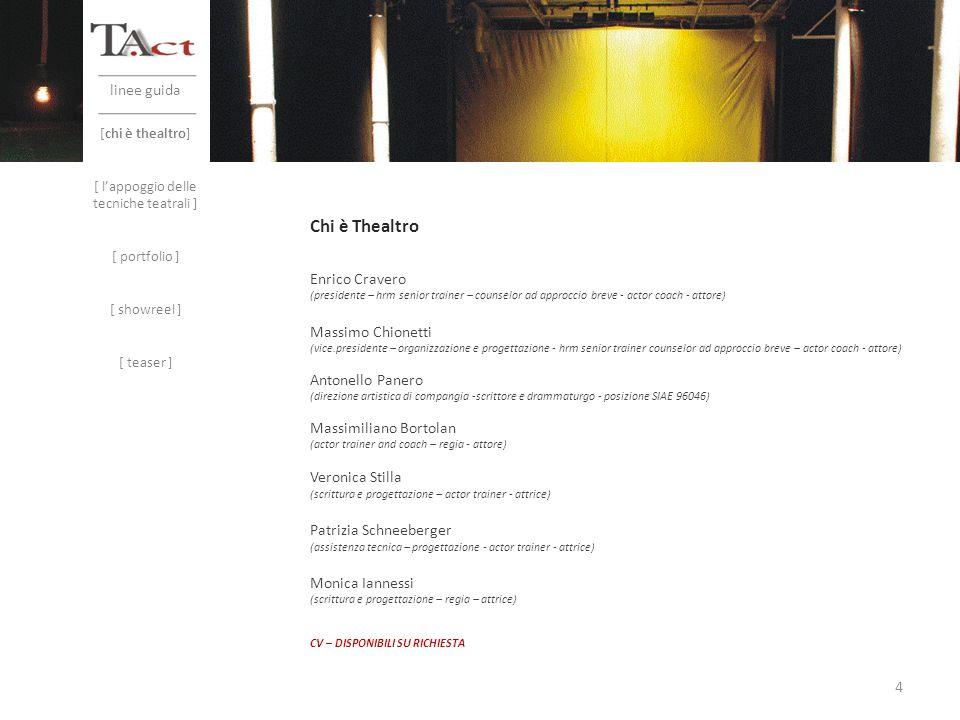 linee guida [chi è thealtro] [ lappoggio delle tecniche teatrali ] [ portfolio ] [ showreel ] [ teaser ] Enrico Cravero (presidente – hrm senior train