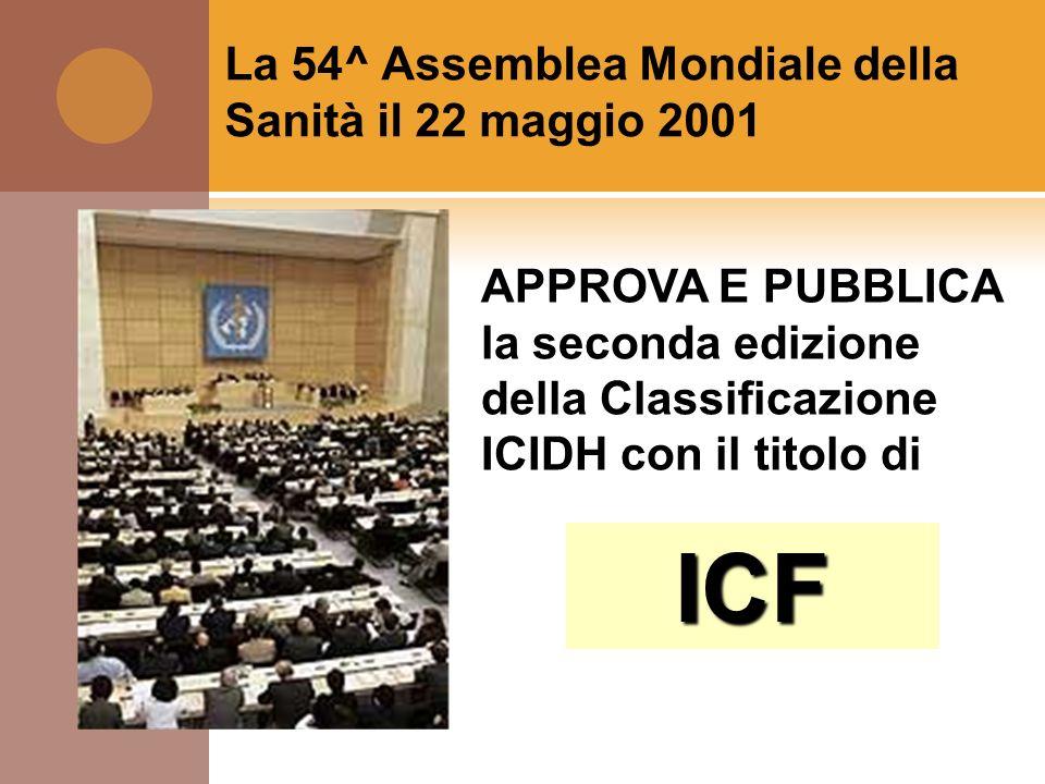 La 54^ Assemblea Mondiale della Sanità il 22 maggio 2001 APPROVA E PUBBLICA la seconda edizione della Classificazione ICIDH con il titolo di ICF