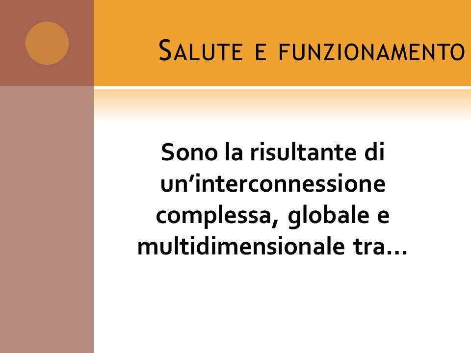 S ALUTE E FUNZIONAMENTO Sono la risultante di uninterconnessione complessa, globale e multidimensionale tra…