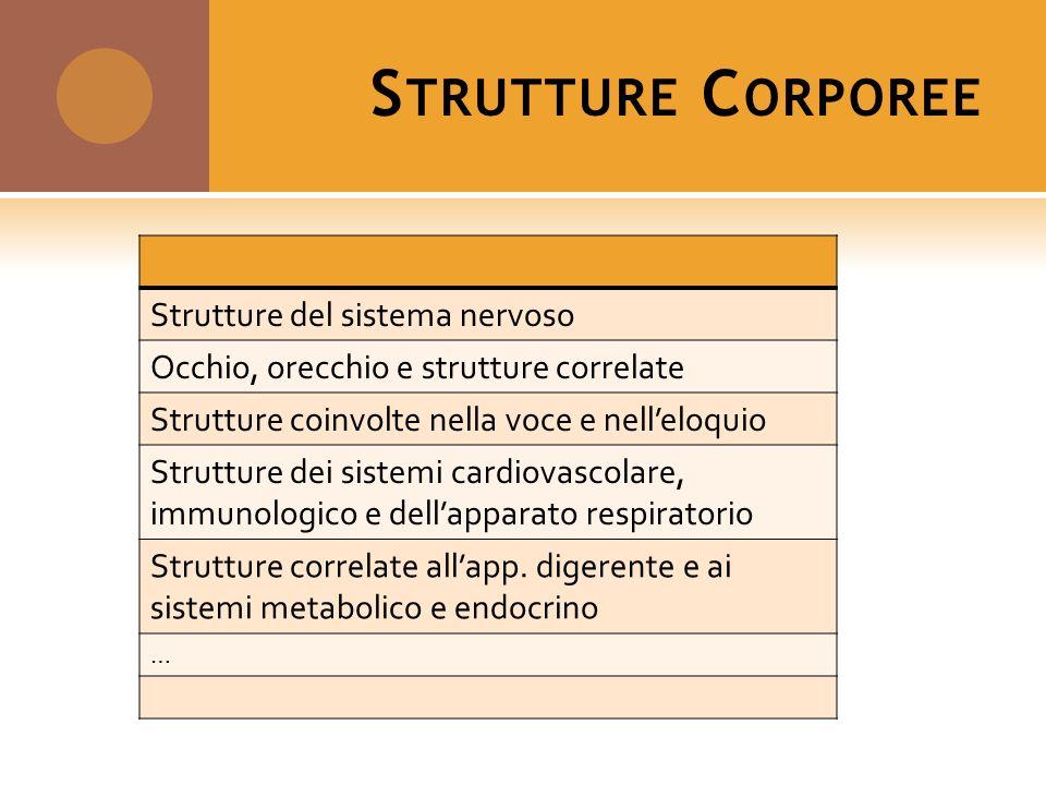 S TRUTTURE C ORPOREE Strutture del sistema nervoso Occhio, orecchio e strutture correlate Strutture coinvolte nella voce e nelleloquio Strutture dei s