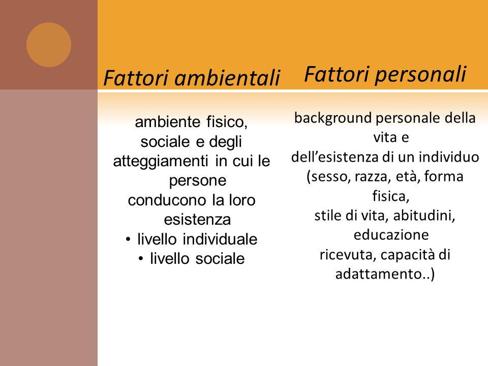 background personale della vita e dellesistenza di un individuo (sesso, razza, età, forma fisica, stile di vita, abitudini, educazione ricevuta, capac