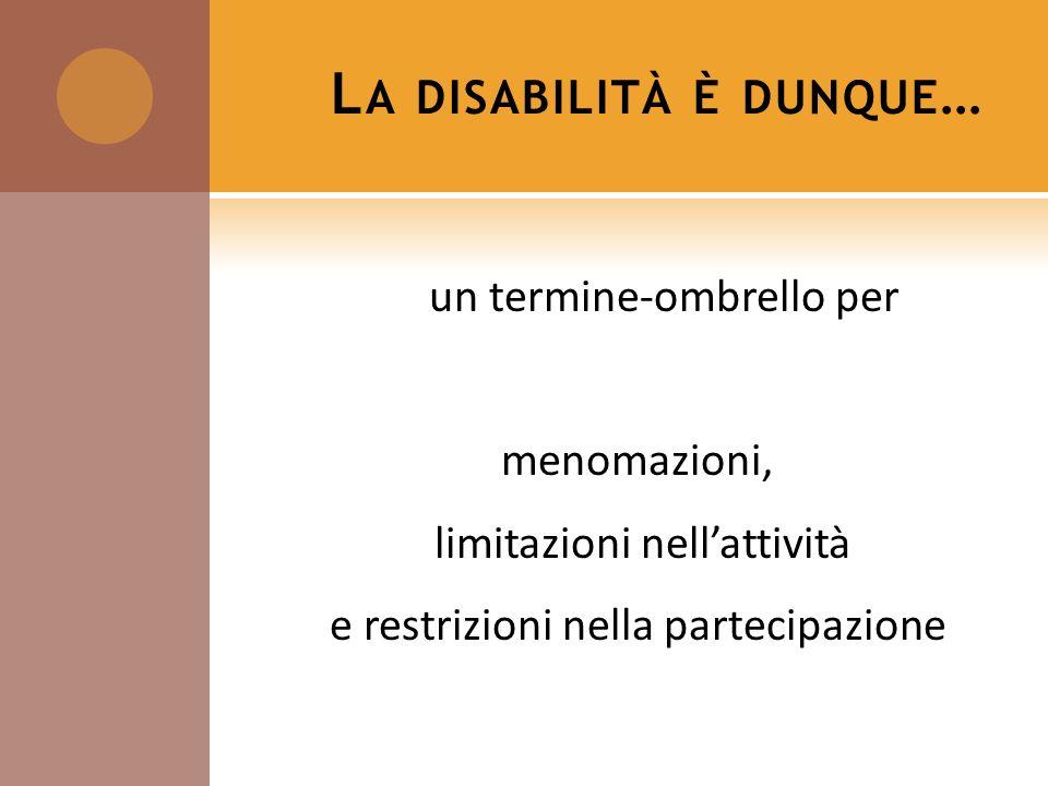 L A DISABILITÀ È DUNQUE … un termine-ombrello per menomazioni, limitazioni nellattività e restrizioni nella partecipazione