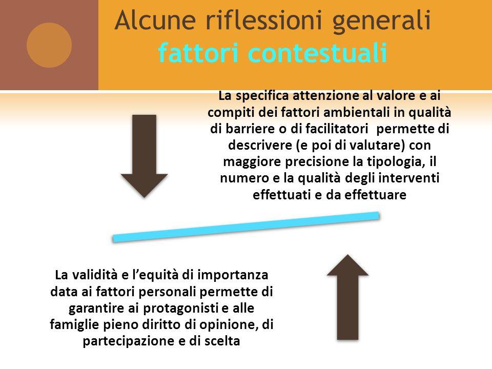 Alcune riflessioni generali fattori contestuali La specifica attenzione al valore e ai compiti dei fattori ambientali in qualità di barriere o di faci