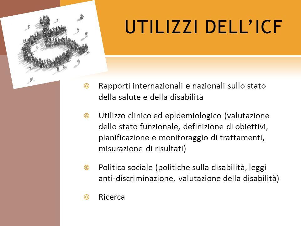 UTILIZZI DELLICF Rapporti internazionali e nazionali sullo stato della salute e della disabilità Utilizzo clinico ed epidemiologico (valutazione dello