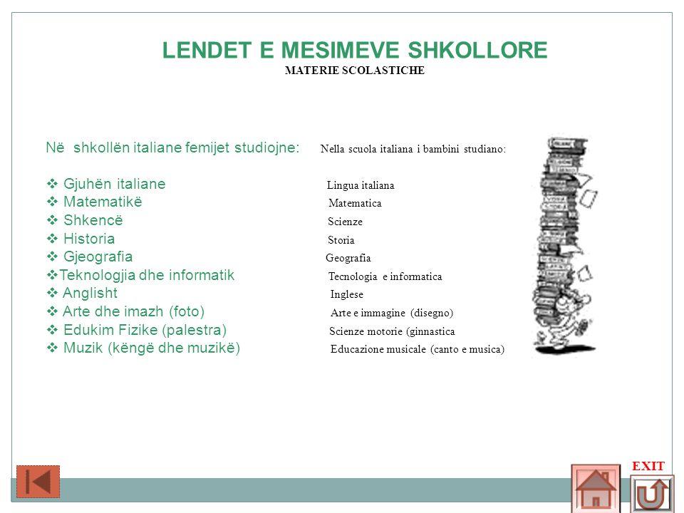 LENDET E MESIMEVE SHKOLLORE MATERIE SCOLASTICHE Në shkollën italiane femijet studiojne: Nella scuola italiana i bambini studiano: Gjuhën italiane Ling