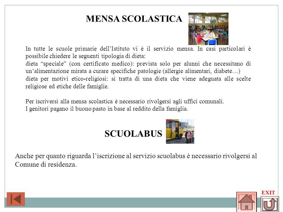 MENSA SCOLASTICA In tutte le scuole primarie dellIstituto vi è il servizio mensa. In casi particolari è possibile chiedere le seguenti tipologia di di