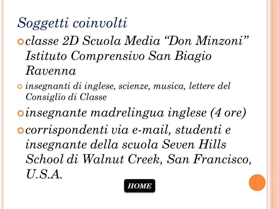 Soggetti coinvolti classe 2D Scuola Media Don Minzoni Istituto Comprensivo San Biagio Ravenna insegnanti di inglese, scienze, musica, lettere del Cons