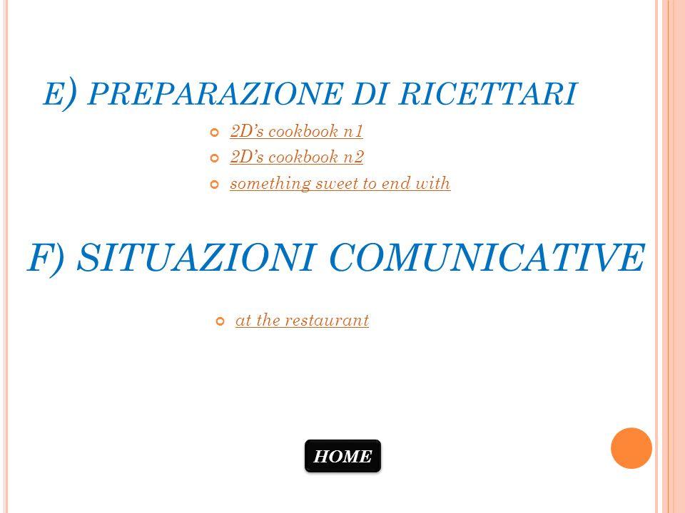 E ) PREPARAZIONE DI RICETTARI 2Ds cookbook n1 2Ds cookbook n2 something sweet to end with at the restaurant F) SITUAZIONI COMUNICATIVE HOME