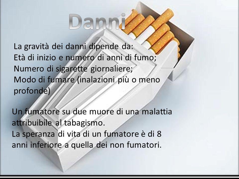 La gravità dei danni dipende da: Età di inizio e numero di anni di fumo; Numero di sigarette giornaliere; Modo di fumare (inalazioni più o meno profon