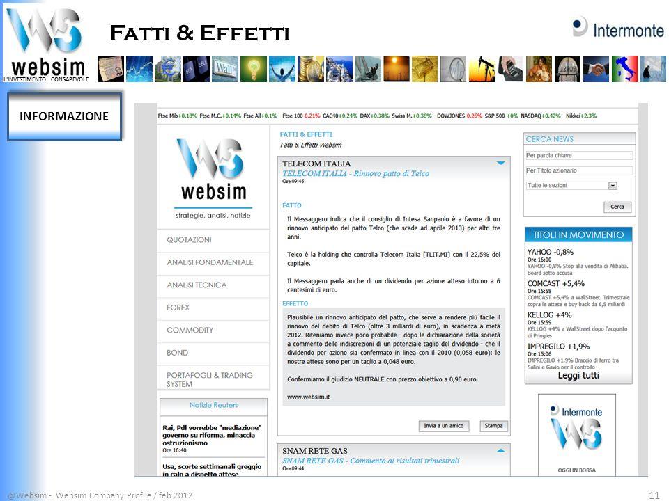 LINVESTIMENTO CONSAPEVOLE Fatti & Effetti @Websim - Websim Company Profile / feb 2012 11 INFORMAZIONE