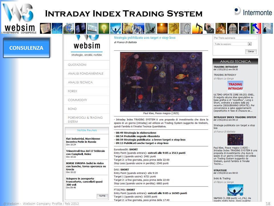 LINVESTIMENTO CONSAPEVOLE Intraday Index Trading System @Websim - Websim Company Profile / feb 2012 18 CONSULENZA